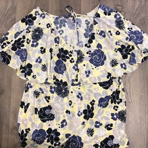 NWT Ann Taylor yellow and blue top sz XL